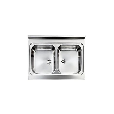 031132 cm lavello inox rossana 80x60 2 vasche