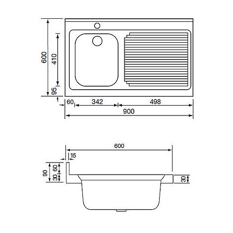 031133 cm lavello inox rossana 90x60 1 vasca a destra