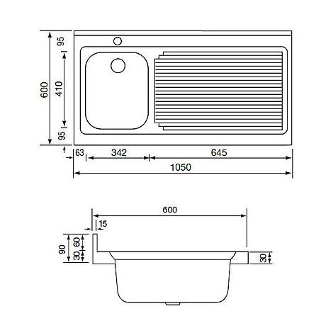 031135 cm lavello inox rossana 105x60 1 vasca a destra