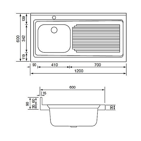 031136 cm lavello inox rossana 120x60 1 vasca a sinistra
