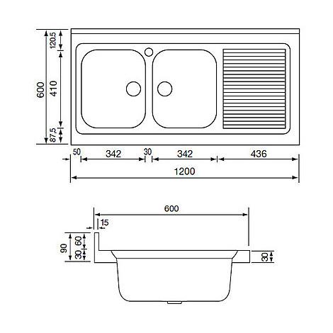 031137 cm lavello inox rossana 120x60 2 vasche a destra