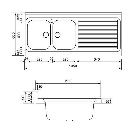 031138 cm lavello inox rossana 135x60 2 vasche a destra