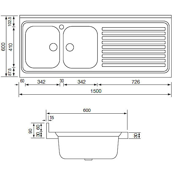 031139 cm lavello inox rossana 150x60 2 vasche a destra