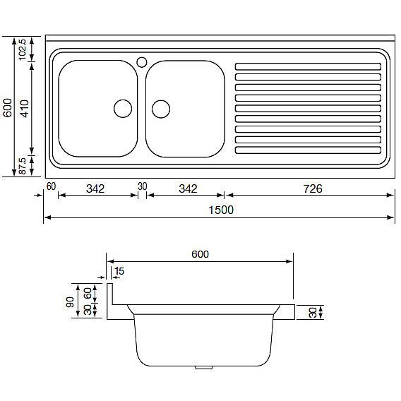 031139 cm lavello inox rossana 150x60 2 vasche a sinistra