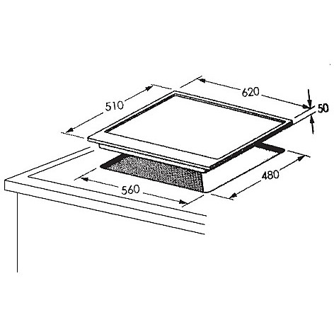 1016101 professional 6x5-4 blanco piano cottura 4 fuochi a gas 60 cm inox