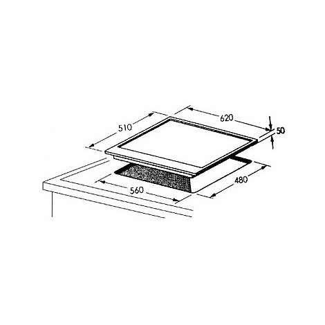 1016106 professional 6x5-4 blanco piano cottura 4 fuochi a gas 60 cm avana