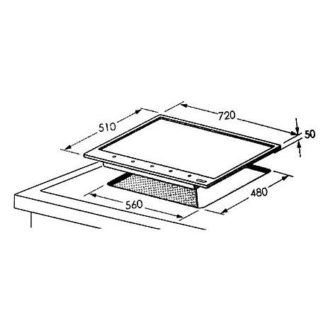 1017105 professional 7x5-5 blanco piano cottura 5 fuochi a gas 75 cm sabbia