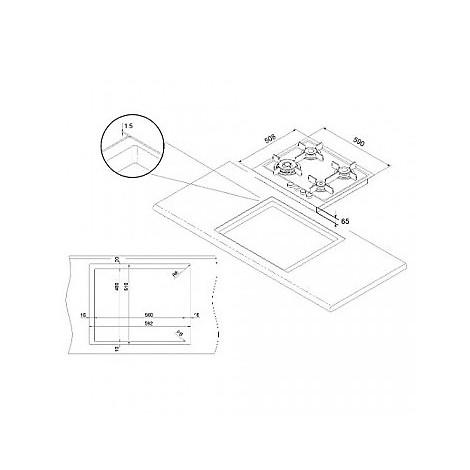 1046110 elite 6x5-4 blanco piano cottura da 60 cm 4 fuochi a gas inox sopratop 10 mm