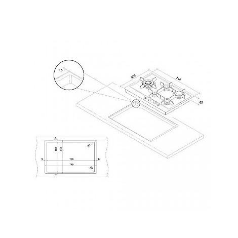 1047110 elite 7x5-5 blanco piano cottura da 75 cm 5 fuochi a gas inox sopratop 10 mm