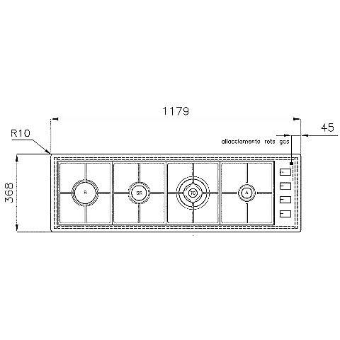1094121 filotop 12x4-4 blanco piano cottura 120 cm 4 fuochi a gas inox filotop 10 mm