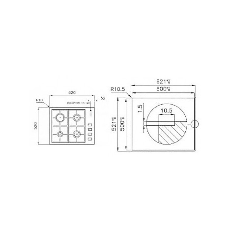 1094123 filotop 6x5-4 blanco piano cottura 60 cm 4 fuochi a gas inox filotop 10 mm