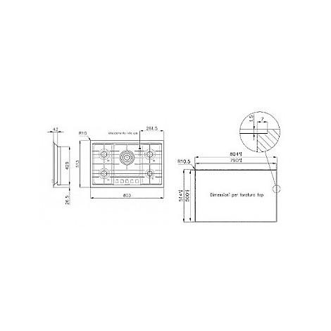1094125 filotop 7x5-5 blanco piano cottura 75 cm 5 fuochi a gas inox filotop 10 mm