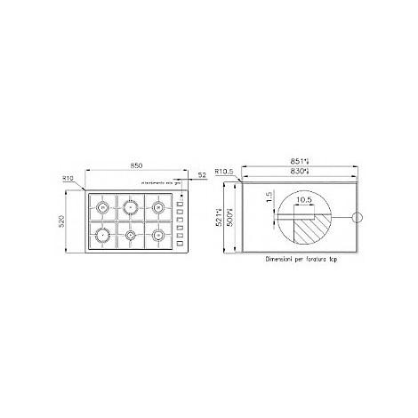 1094129 filotop 9x5-6 blanco piano cottura 90 cm 6 fuochi a gas inox filotop 10 mm
