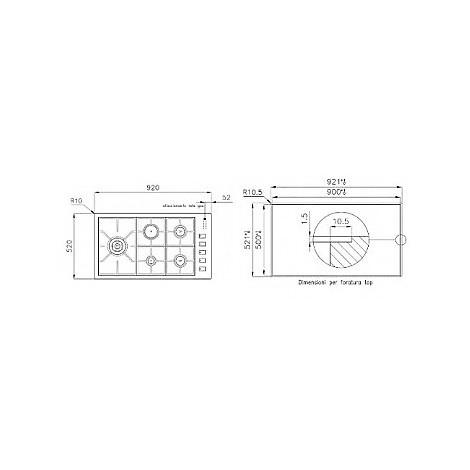 1104126 filotop 9x5-5 blanco piano cottura 90 cm 5 fuochi a gas inox sopratop 4 mm