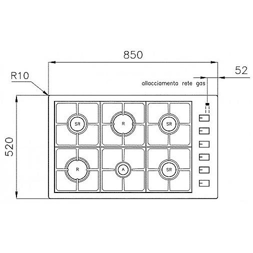 1104128 filotop 9x5-6 blanco piano cottura 90 cm 6 fuochi a gas inox sopratop 4 mm