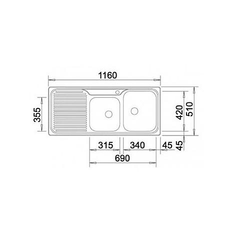 1308417 classic 8 s blanco lavello 116x51 2 vasche sgocciolatoio a sinistra inox