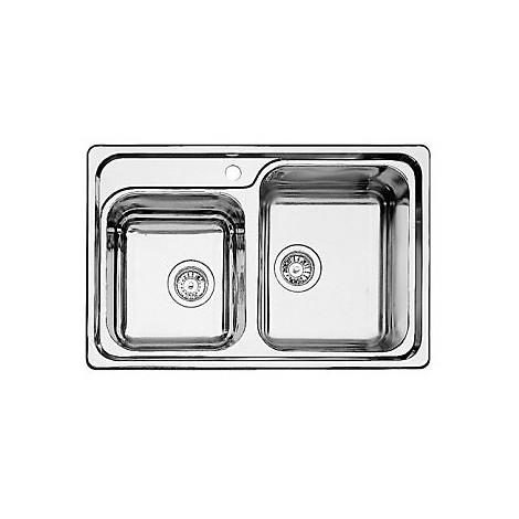 1308418 classic 8 blanco lavello 78x51 2 vasche senza sgocciolatoio inox