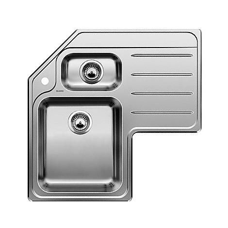 1310245 median 9 e blanco lavello 83x83 2 vasche angolare inox sopratop