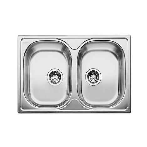 1314686 tipo 8 compact blanco lavello 78x50 2 vasche senza sgocciolatoio inox sopratop
