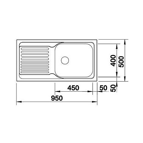 1315528 tipo xl 6 s blanco lavello 95x50 1 vasca sgocciolatoio a destra inox sopratop