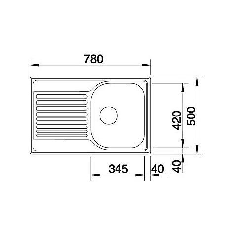 1318615 tipo 45 s compact blanco lavello 78x50 1 vasca sgocciolatoio a sinistra inox sopratop