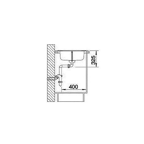 1318616 tipo 45 s compact blanco lavello 78x50 1 vasca sgocciolatoio a destra inox sopratop