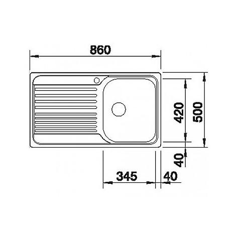 1324948 tipo 45 s blanco lavello 86x50 1 vasca sgocciolatoio a destra inox sopratop