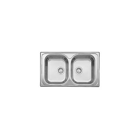 1324949 tipo 8 blanco lavello 86x50 2 vasche senza sgocciolatoio inox sopratop