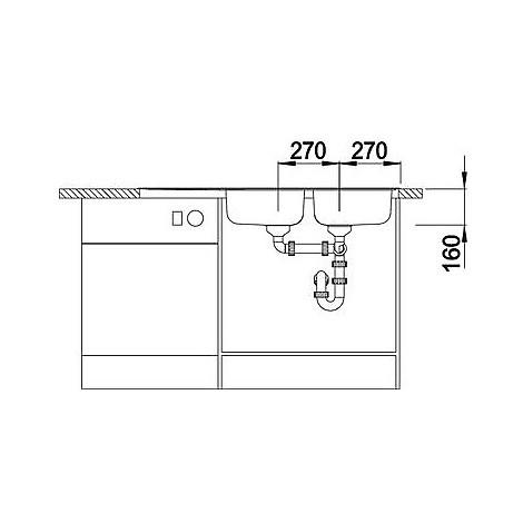 1324951 tipo 8 s compact blanco lavello 116x50 2 vasche sgocciolatoio a destra inox sopratop