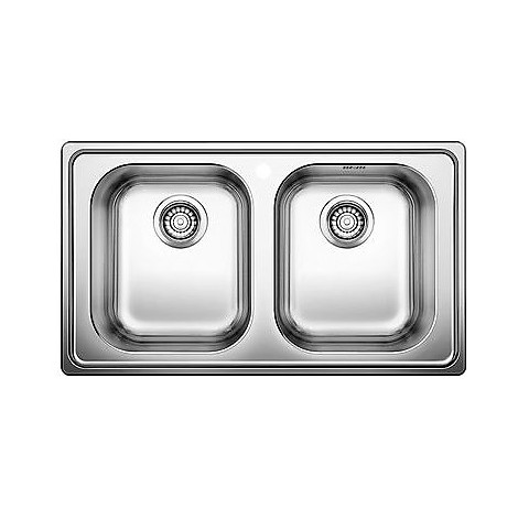 1328108 dinas 8 blanco lavello 86x50 2 vasche senza sgocciolatoio inox sopratop