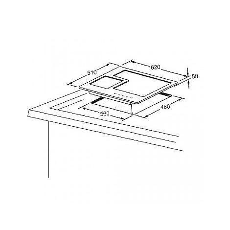 1400062 quadro 6x5-4 blanco piano cottura da 60 cm 4 fuochi a gas inox