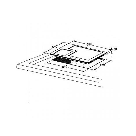 1400090 quadro 9x5-6 blanco piano cottura da 90 cm 6 fuochi a gas inox