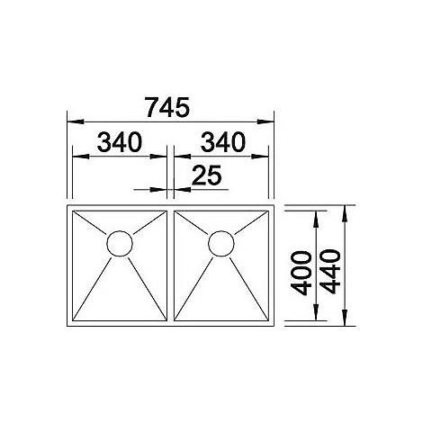1413453 zerox 340/340-if r10 blanco lavello 75x44 2 vasche senza sgocciolatoio inox satinato