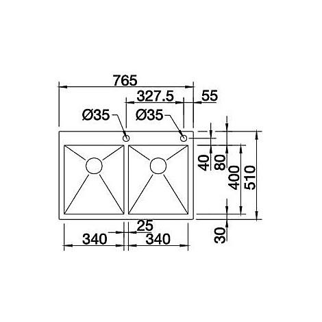 1413702 zerox 340/340-if/a 10 blanco lavello 77x51 2 vasche senza sgocciolatoio inox satinato
