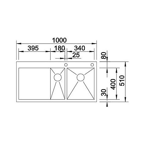 1413759 zerox 6 s-if r est10 blanco lavello 100x51 2 vasche sgocciolatoio a destra inox satinato