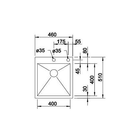 1415639 zerox 400-if/a r10 blanco lavello 46x51 1 vasca senza sgocciolatoio inox satinato