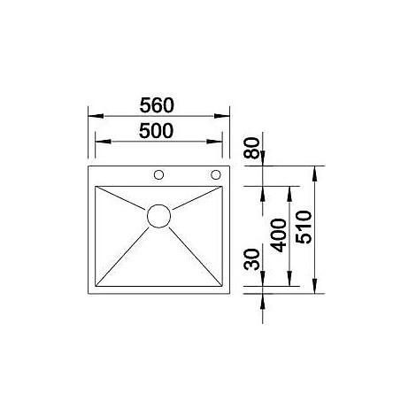 1415640 zerox 500-if/a r10 blanco lavello 56x51 1 vasca senza sgocciolatoio inox satinato