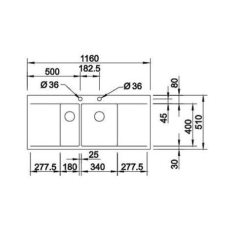 1416537 flow 6 s-if r10 blanco lavello 116x51 2 vasche sgocciolatoio destro e sinistro inox sat