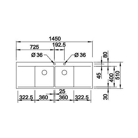 1416538 flow 8 s-if r10 blanco lavello 145x51 2 vasche sgocciolatoio destro e sinistro inox sat