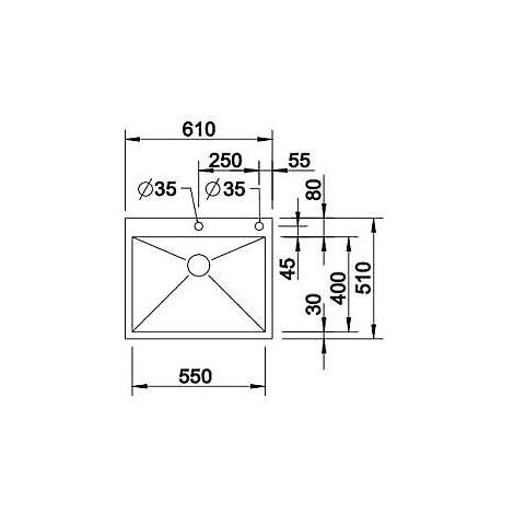 1416794 zerox 550-if/a r10 blanco lavello 61x51 1 vasca senza sgocciolatoio inox satinato