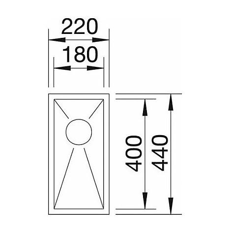 1417236 zerox 180-if 10 mm blanco lavello 22x44 1 vasca senza sgocciolatoio inox satinato