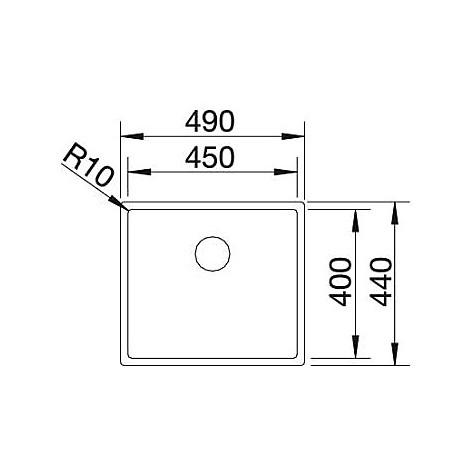 1417242 zerox 450-if 10 mm blanco lavello 49x44 1 vasca senza sgocciolatoio inox satinato