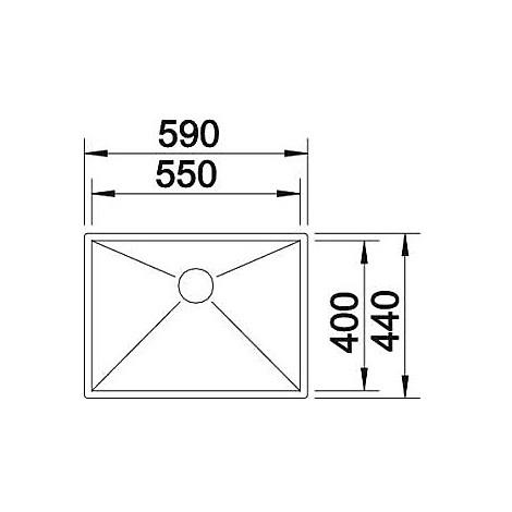 1417246 zerox 550-if 10 mm blanco lavello 59x44 1 vasca senza sgocciolatoio inox satinato