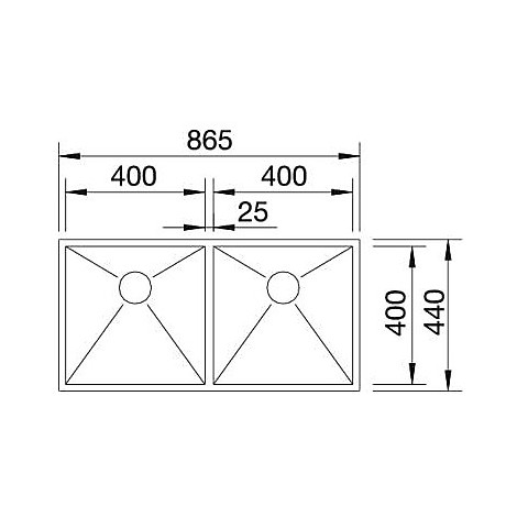 1417258 zerox 400/400-if r10 blanco lavello 87x44 2 vasche senza sgocciolatoio inox satinato