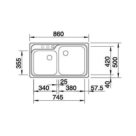 1510431 nova 8 antracite blanco lavello 86x50 2 vasche senza sgocciolatoio silgranit
