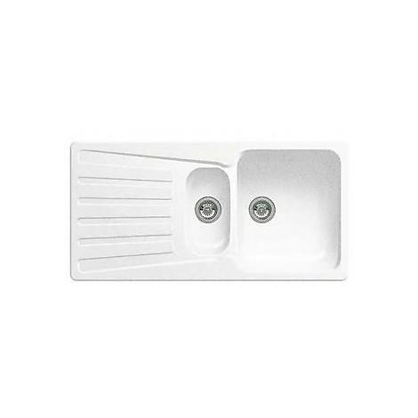 1510488 nova 6 s bianco blanco lavello 100x50 2 vasche reversibile silgranit
