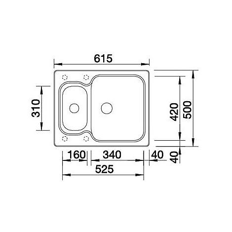 1510851 nova 6 bianco blanco lavello 62x50 2 vasche senza sgocciolatoio silgranit