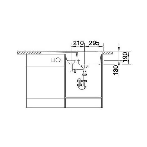1511699 nova 6 s alumetallic blanco lavello 100x50 2 vasche reversibile silgranit