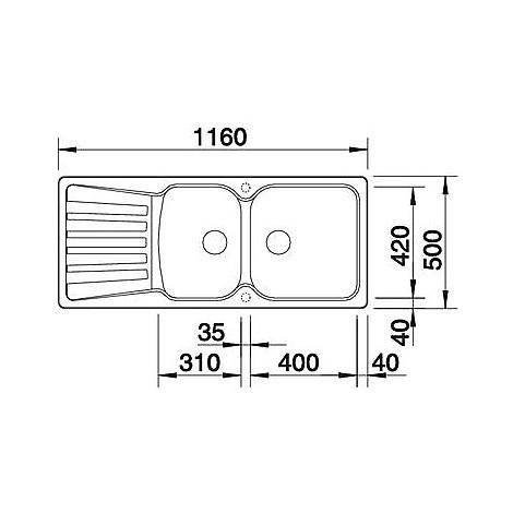 1511700 nova 8 s alumetallic blanco lavello 116x50 2 vasche reversibile silgranit
