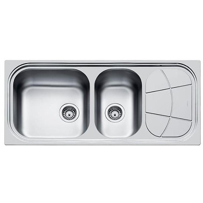 1512202  foster lavello 1160x500 mm 2 vasche sgocciolatoio a destra inox